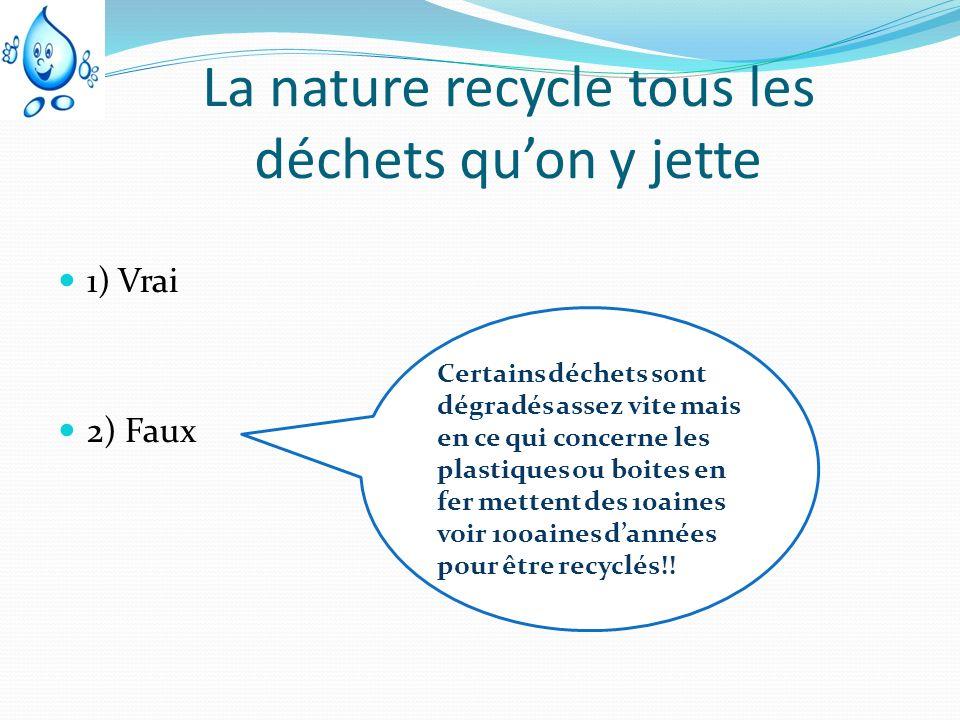La nature recycle tous les déchets quon y jette 1) Vrai 2) Faux Certains déchets sont dégradés assez vite mais en ce qui concerne les plastiques ou bo