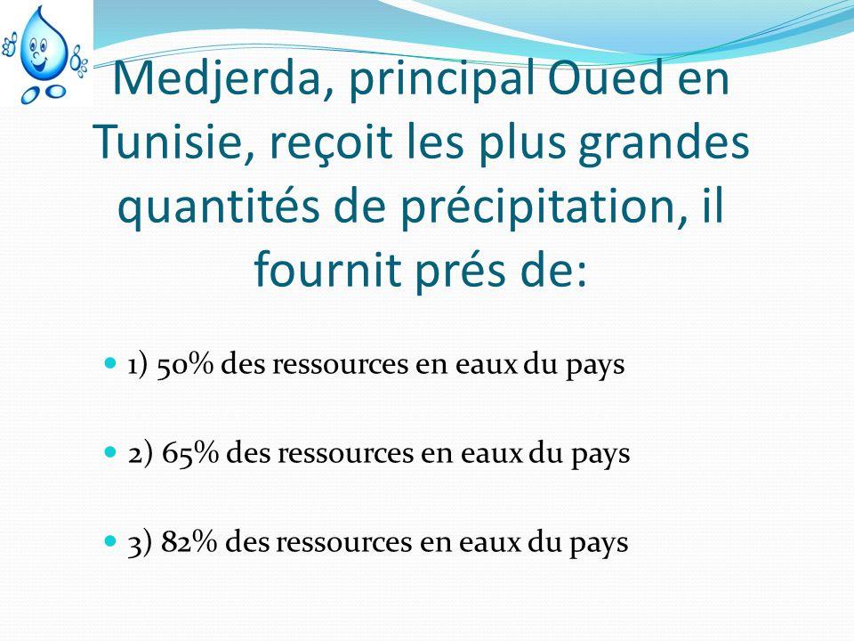 Medjerda, principal Oued en Tunisie, reçoit les plus grandes quantités de précipitation, il fournit prés de: 1) 50% des ressources en eaux du pays 2)