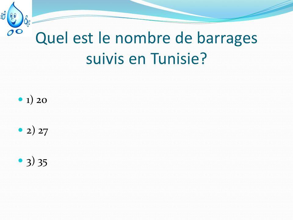 Quel est le nombre de barrages suivis en Tunisie? 1) 20 2) 27 3) 35