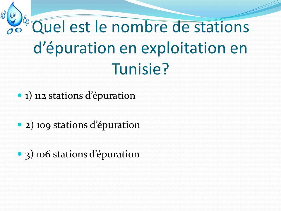 Quel est le nombre de stations dépuration en exploitation en Tunisie? 1) 112 stations dépuration 2) 109 stations dépuration 3) 106 stations dépuration
