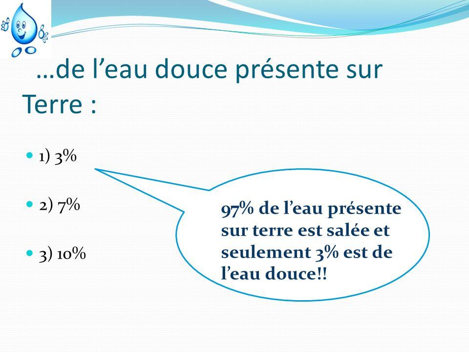 …de leau douce présente sur Terre : 1) 3% 2) 7% 3) 10% 97% de leau présente sur terre est salée et seulement 3% est de leau douce!!