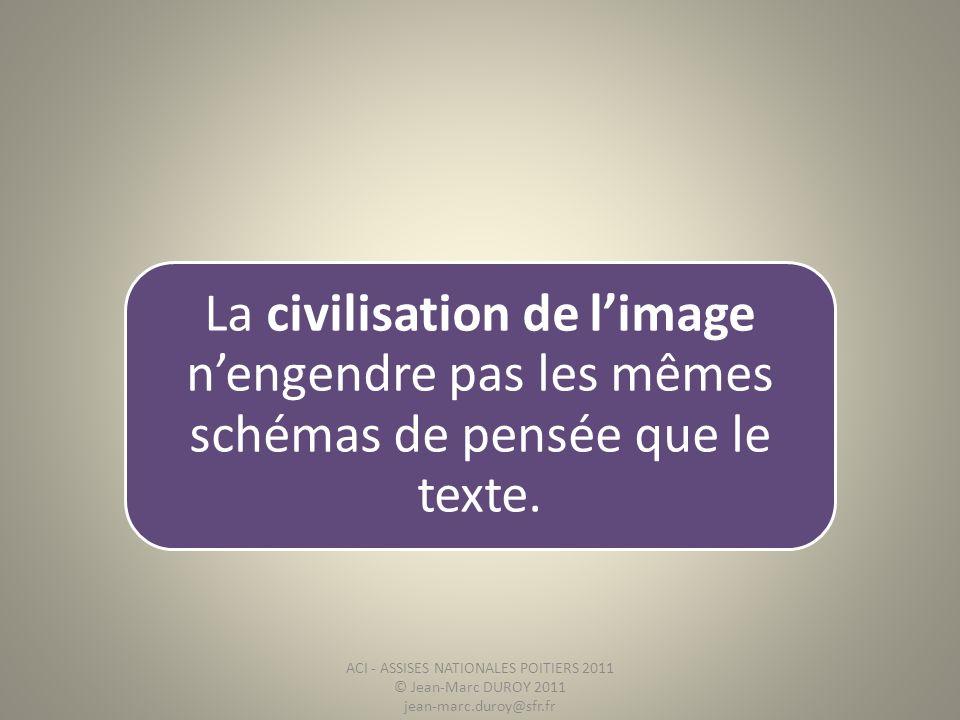 La civilisation de limage nengendre pas les mêmes schémas de pensée que le texte. ACI - ASSISES NATIONALES POITIERS 2011 © Jean-Marc DUROY 2011 jean-m