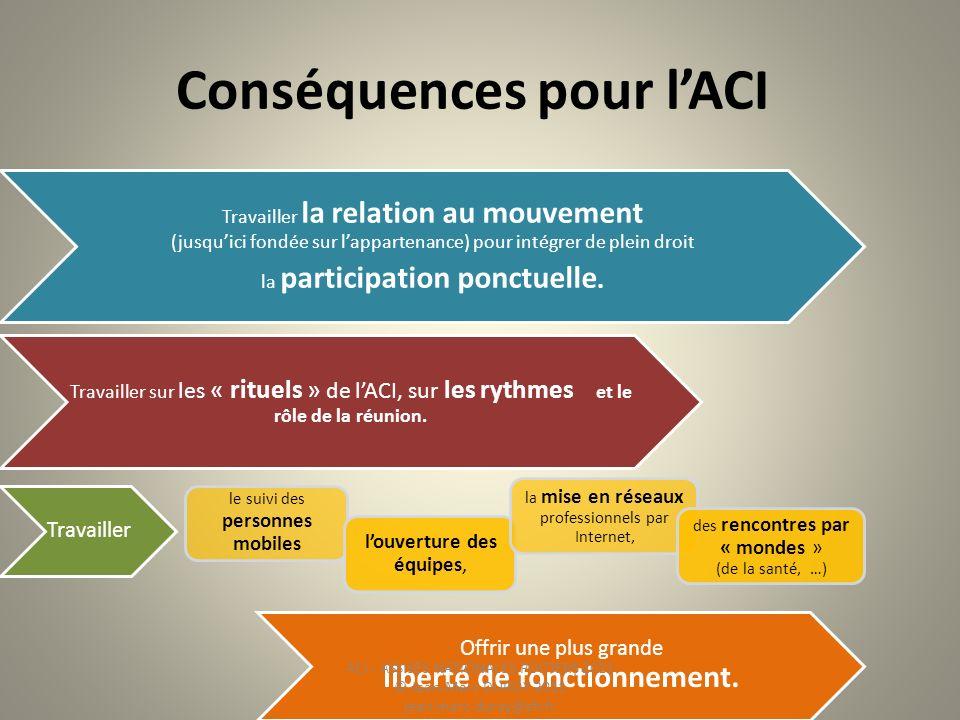 Conséquences pour lACI Travailler la relation au mouvement (jusquici fondée sur lappartenance) pour intégrer de plein droit la participation ponctuell