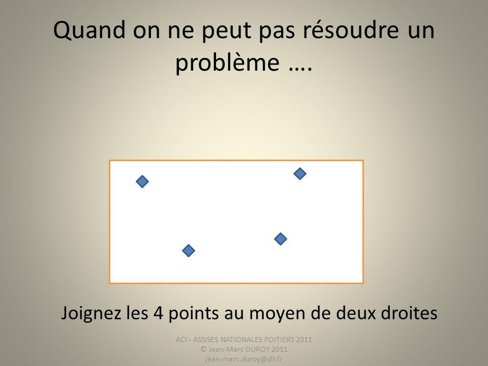 Quand on ne peut pas résoudre un problème …. Joignez les 4 points au moyen de deux droites ACI - ASSISES NATIONALES POITIERS 2011 © Jean-Marc DUROY 20