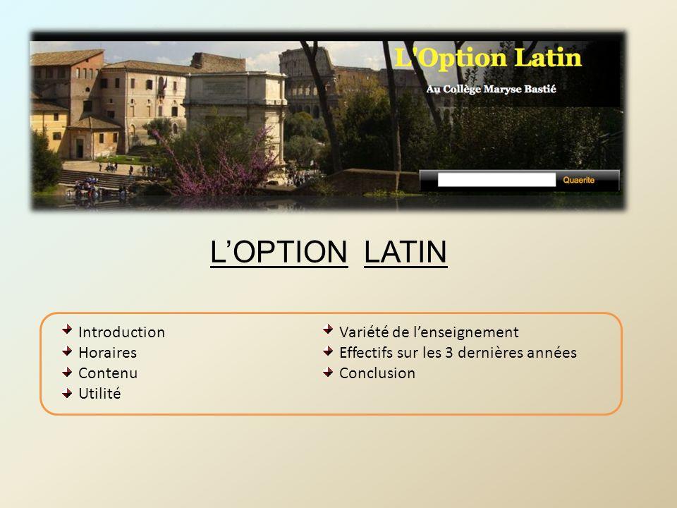 Variété de lenseignement Effectifs sur les 3 dernières années Conclusion Introduction Horaires Contenu Utilité LOPTION LATIN