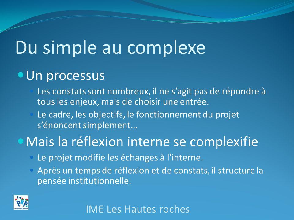 Du simple au complexe Un processus Les constats sont nombreux, il ne sagit pas de répondre à tous les enjeux, mais de choisir une entrée. Le cadre, le