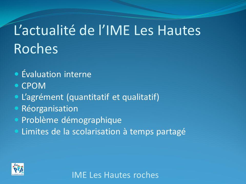 Lactualité de lIME Les Hautes Roches Évaluation interne CPOM Lagrément (quantitatif et qualitatif) Réorganisation Problème démographique Limites de la
