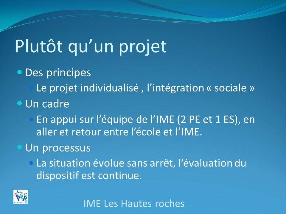 Plutôt quun projet Des principes Le projet individualisé, lintégration « sociale » Un cadre En appui sur léquipe de lIME (2 PE et 1 ES), en aller et retour entre lécole et lIME.