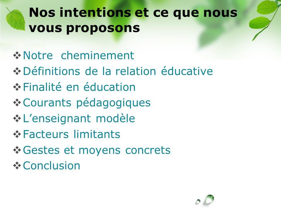 Nos intentions et ce que nous vous proposons Notre cheminement Définitions de la relation éducative Finalité en éducation Courants pédagogiques Lensei