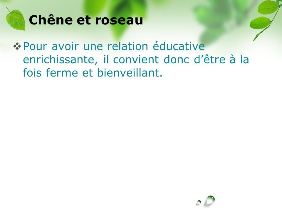 CREÉ Chêne et roseau Pour avoir une relation éducative enrichissante, il convient donc dêtre à la fois ferme et bienveillant.