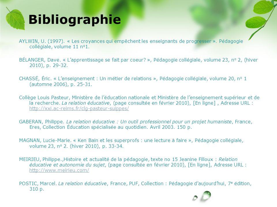 CREÉ Bibliographie AYLWIN, U. (1997). « Les croyances qui empêchent les enseignants de progresser ». Pédagogie collégiale, volume 11 n o 1. BÉLANGER,