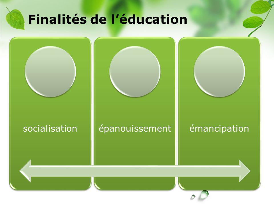 CREÉ Finalités de léducation socialisationépanouissementémancipation
