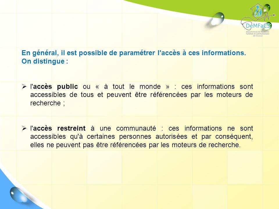 En général, il est possible de paramétrer l'accès à ces informations. On distingue : l'accès public ou « à tout le monde » : ces informations sont acc