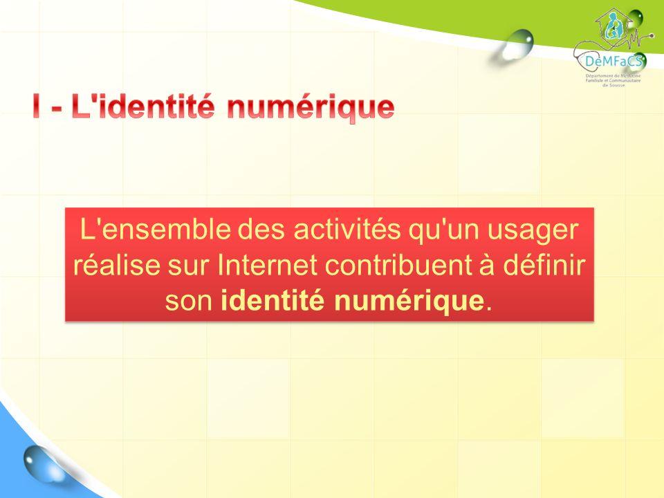 L'ensemble des activités qu'un usager réalise sur Internet contribuent à définir son identité numérique.