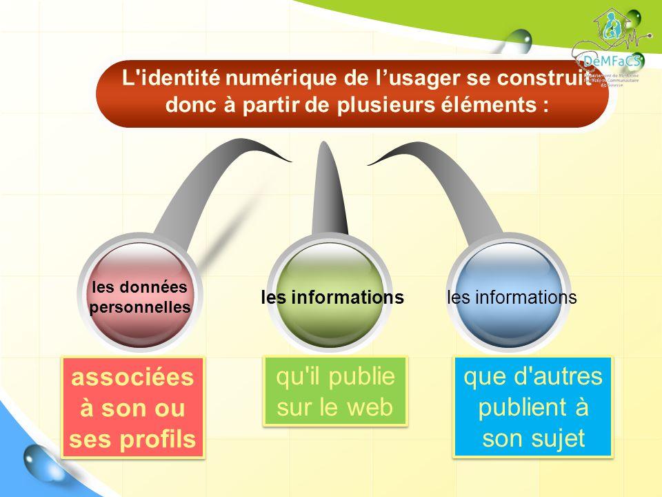 les informations les données personnelles les informations L'identité numérique de lusager se construit donc à partir de plusieurs éléments : associée