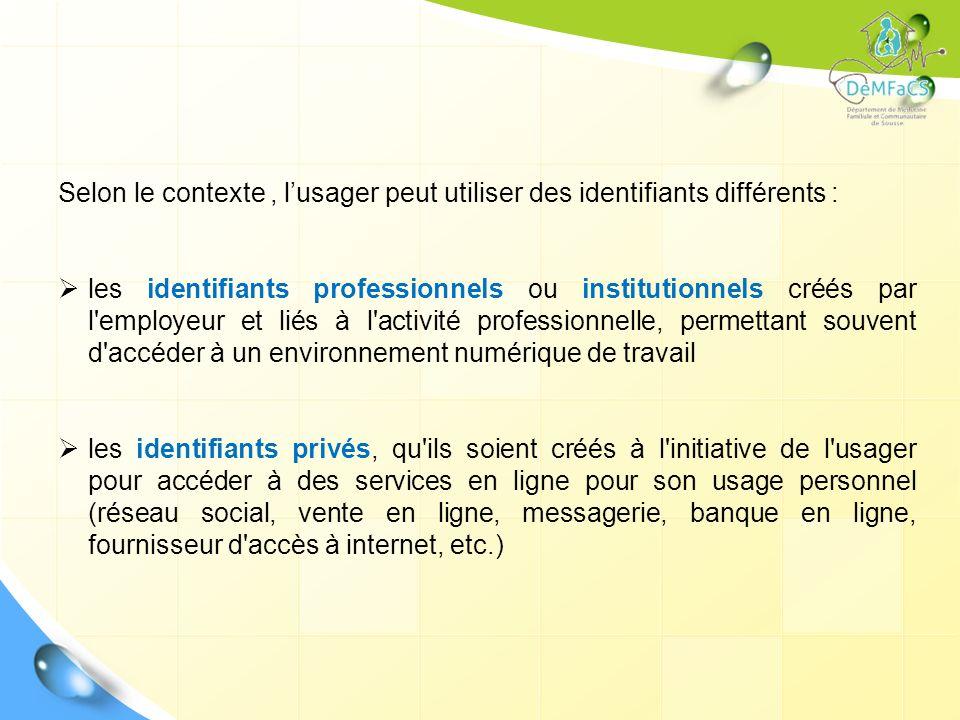 Selon le contexte, lusager peut utiliser des identifiants différents : les identifiants professionnels ou institutionnels créés par l'employeur et lié