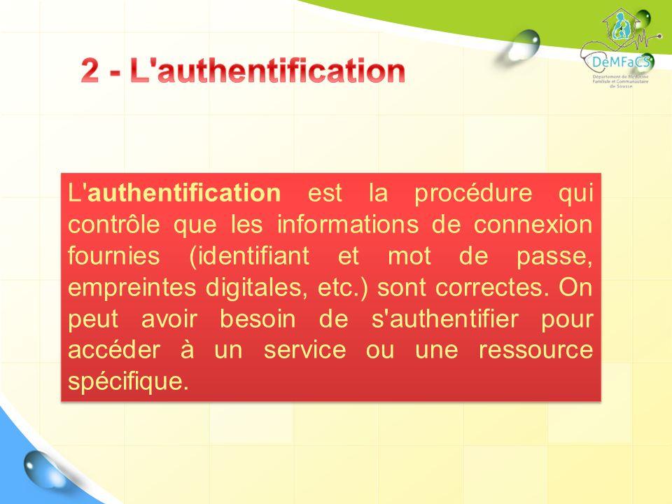 L'authentification est la procédure qui contrôle que les informations de connexion fournies (identifiant et mot de passe, empreintes digitales, etc.)