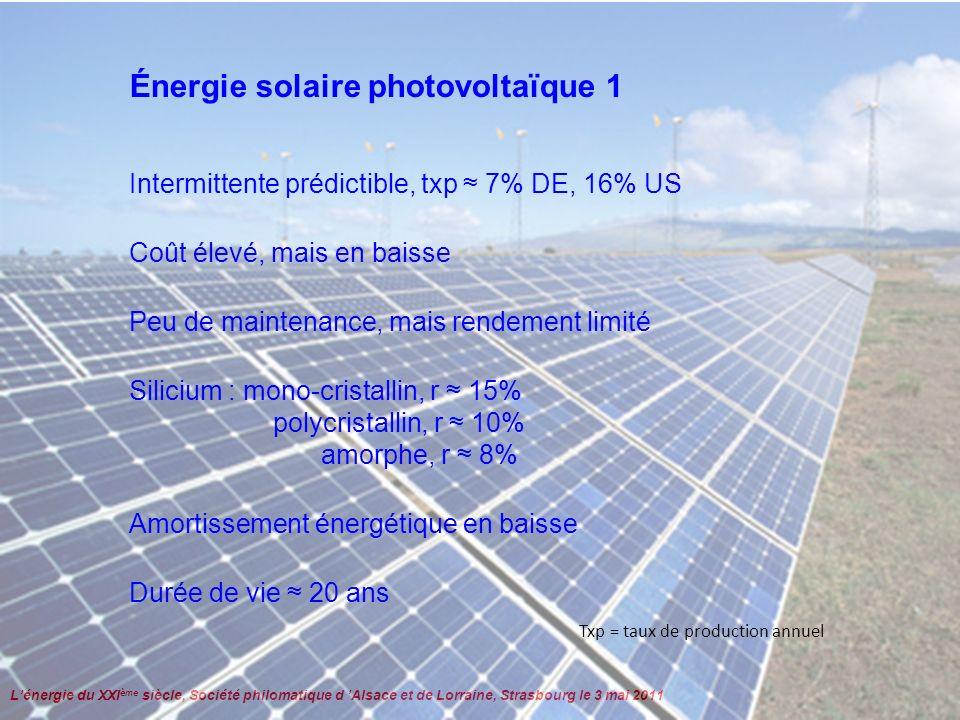 Lénergie du XXI ème siècle, Société philomatique d Alsace et de Lorraine, Strasbourg le 3 mai 2011 Énergie solaire photovoltaïque 2 Constante solaire : 1,367 kW/m² http://re.jrc.ec.europa.eu/pvgis/apps4/pvest.php?lang=fr&map=europe 1210 kWh/m 2 /an à Strasbourg Pertes : orientation, saison, albédo, latitude Un carré de 330x330 m 2 suffirait aux 4,7 PWh/an de la France MAIS Un carré de 60x60 km 2 est nécessaire aux 4,7 TWh/an de le France