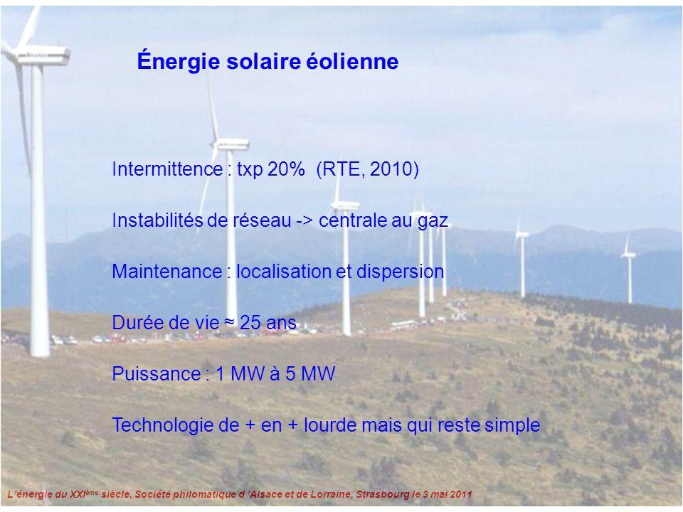 Lénergie du XXI ème siècle, Société philomatique d Alsace et de Lorraine, Strasbourg le 3 mai 2011 Énergie solaire photovoltaïque 1 Intermittente prédictible, txp 7% DE, 16% US Txp = taux de production annuel Amortissement énergétique en baisse Peu de maintenance, mais rendement limité Silicium : mono-cristallin, r 15% polycristallin, r 10% amorphe, r 8% Coût élevé, mais en baisse Durée de vie 20 ans