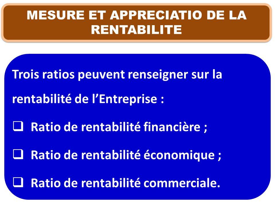 MESURE ET APPRECIATIO DE LA RENTABILITE Trois ratios peuvent renseigner sur la rentabilité de lEntreprise : Ratio de rentabilité financière ; Ratio de