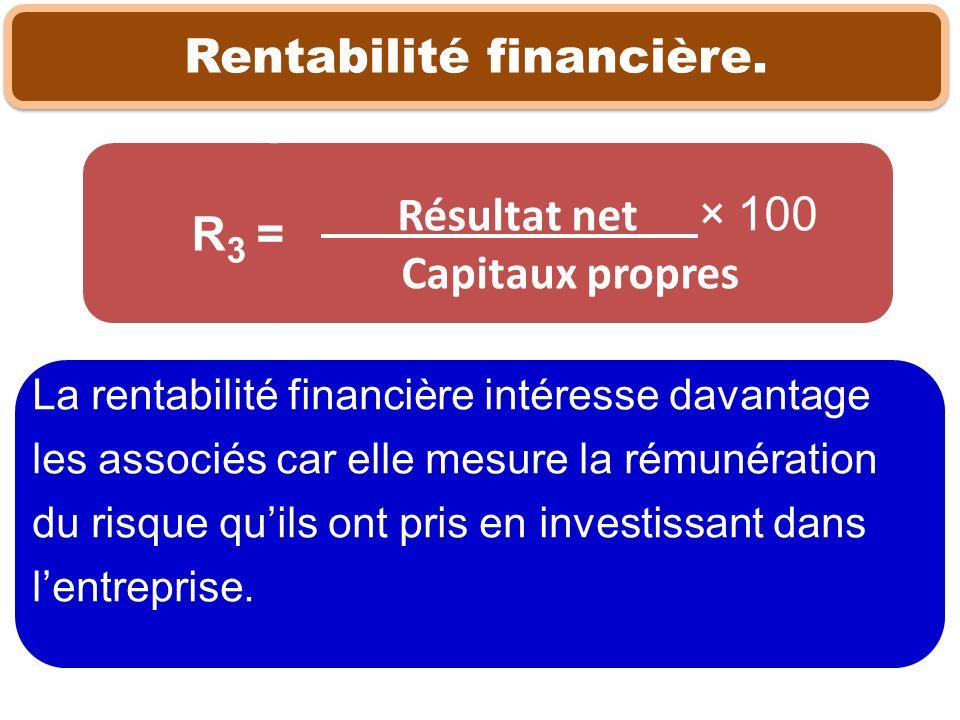 Rentabilité financière. La rentabilité financière intéresse davantage les associés car elle mesure la rémunération du risque quils ont pris en investi