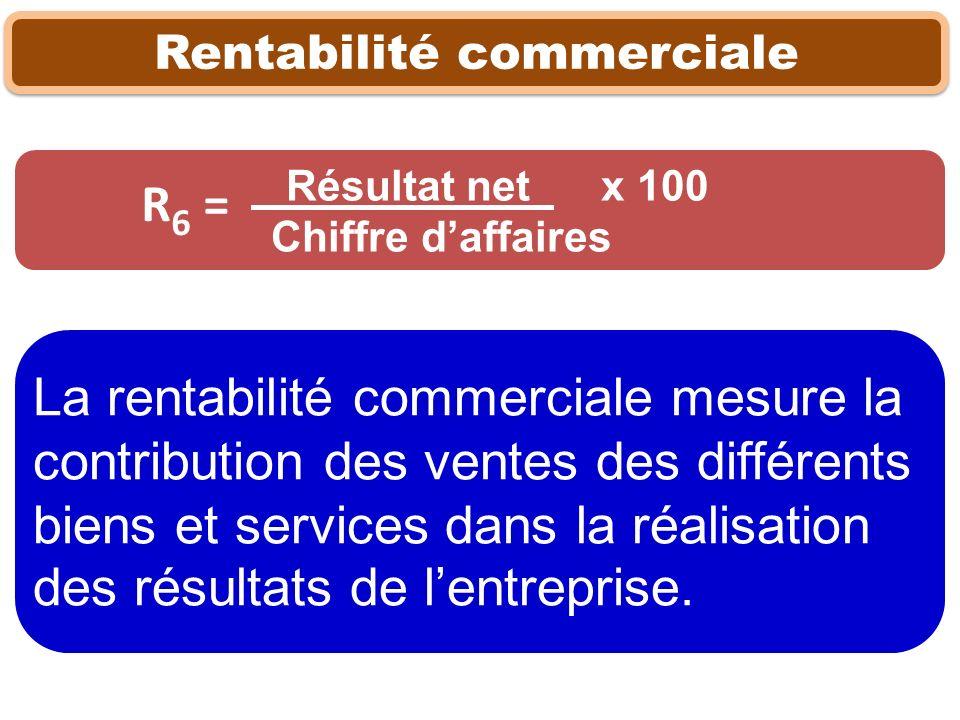 Rentabilité commerciale Résultat net x 100 Chiffre daffaires La rentabilité commerciale mesure la contribution des ventes des différents biens et serv