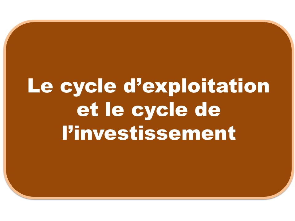 Le cycle dexploitation et le cycle de linvestissement