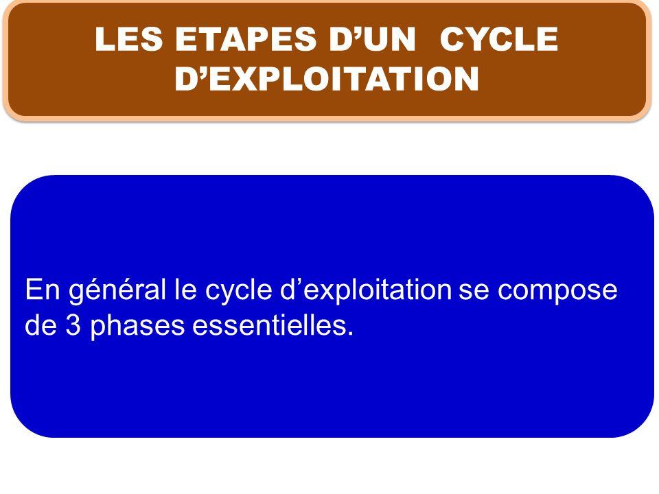 En général le cycle dexploitation se compose de 3 phases essentielles. LES ETAPES DUN CYCLE DEXPLOITATION