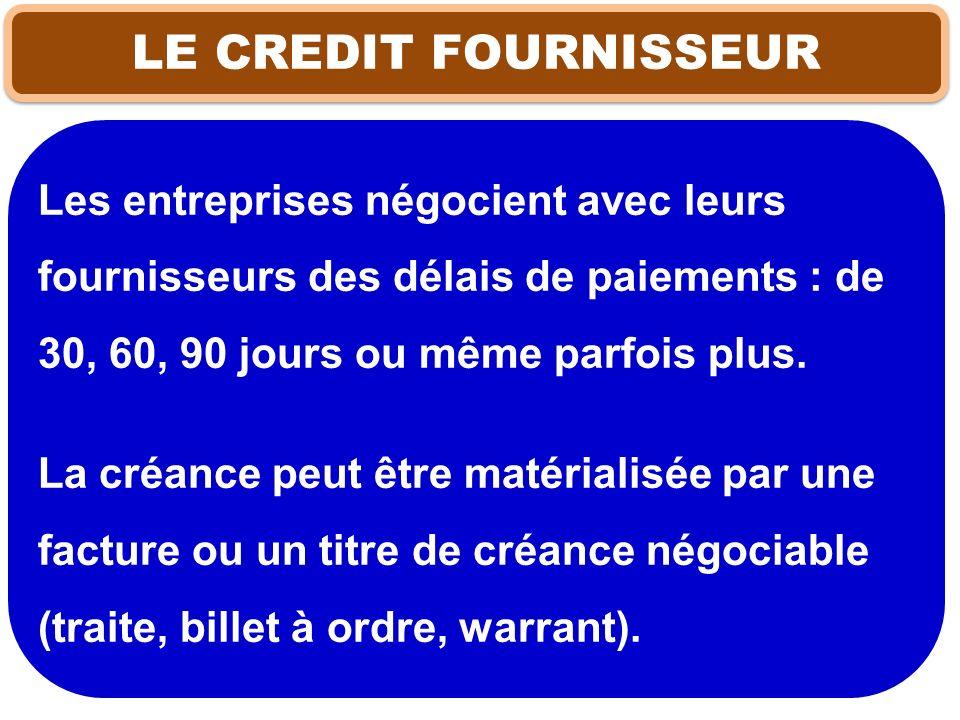 LE CREDIT FOURNISSEUR Les entreprises négocient avec leurs fournisseurs des délais de paiements : de 30, 60, 90 jours ou même parfois plus. La créance