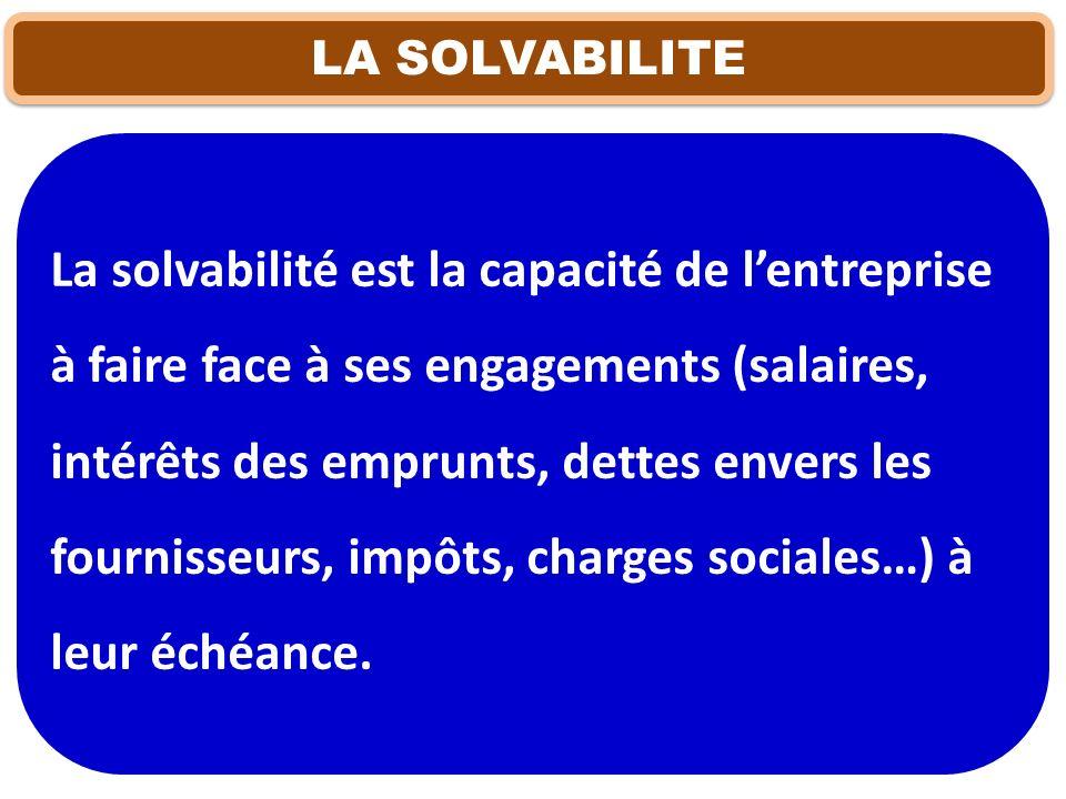 LA SOLVABILITE La solvabilité est la capacité de lentreprise à faire face à ses engagements (salaires, intérêts des emprunts, dettes envers les fourni