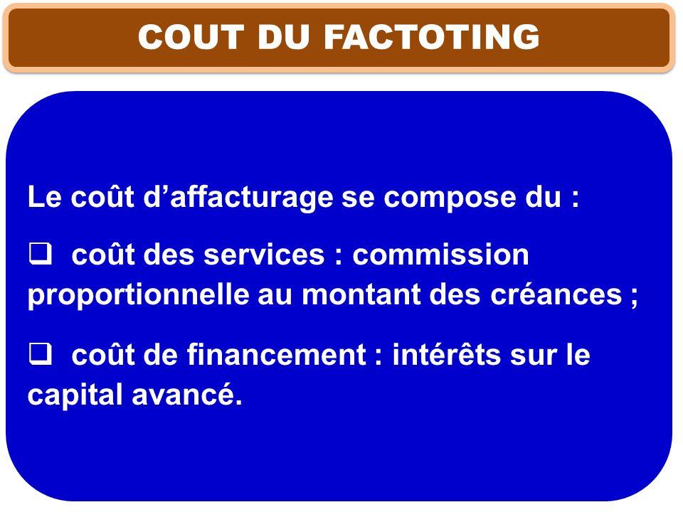 COUT DU FACTOTING Le coût daffacturage se compose du : coût des services : commission proportionnelle au montant des créances ; coût de financement :