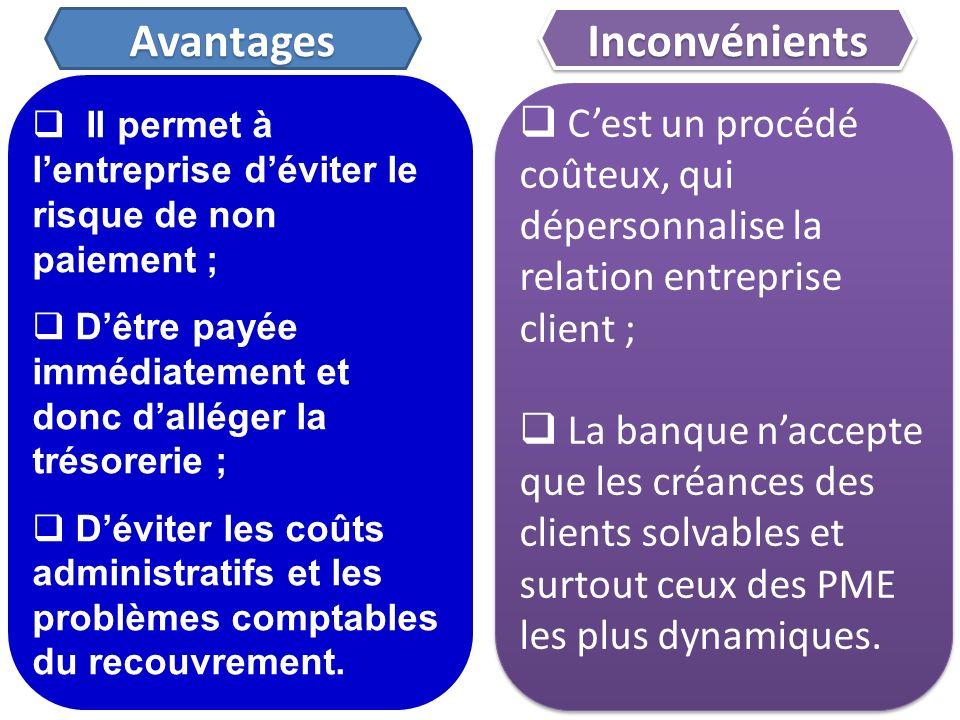 Il permet à lentreprise déviter le risque de non paiement ; Dêtre payée immédiatement et donc dalléger la trésorerie ; Déviter les coûts administratif
