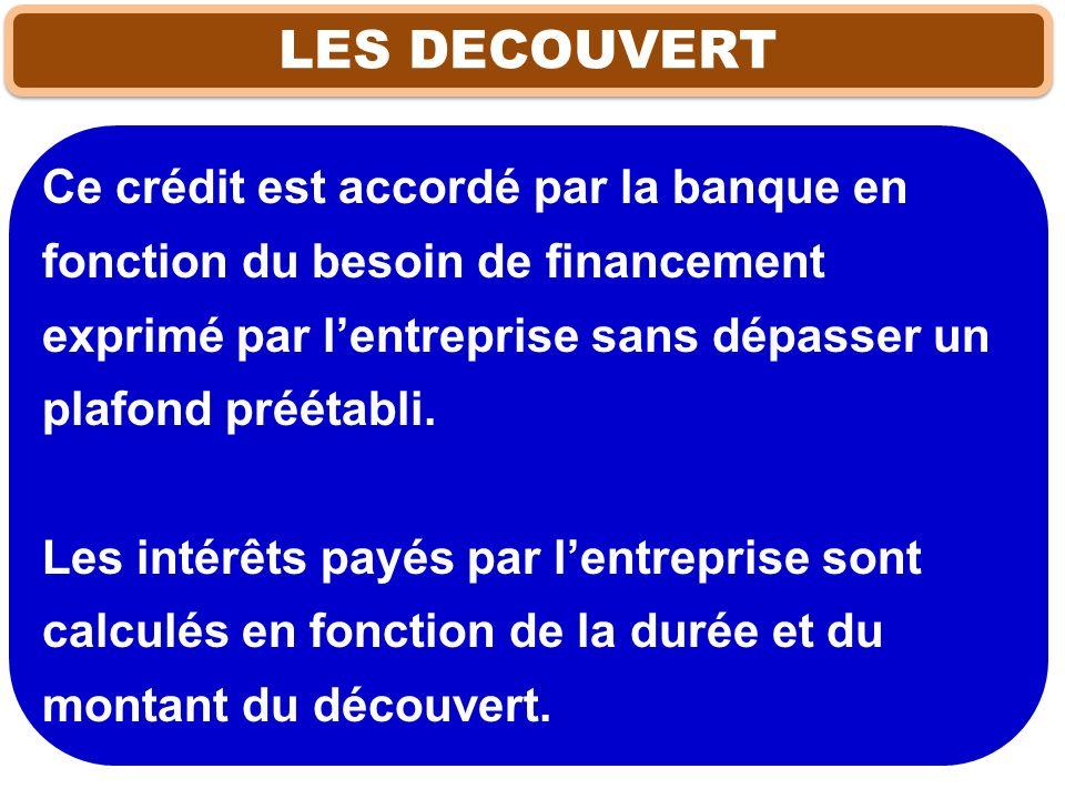 LES DECOUVERT Ce crédit est accordé par la banque en fonction du besoin de financement exprimé par lentreprise sans dépasser un plafond préétabli. Les