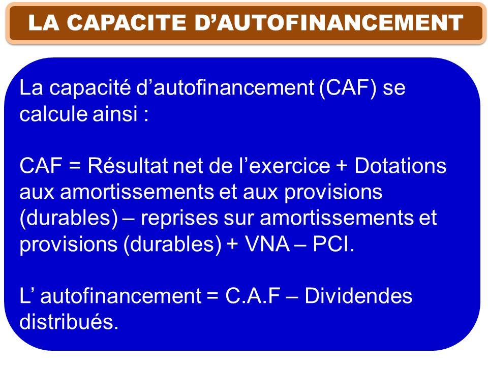 LA CAPACITE DAUTOFINANCEMENT La capacité dautofinancement (CAF) se calcule ainsi : CAF = Résultat net de lexercice + Dotations aux amortissements et a