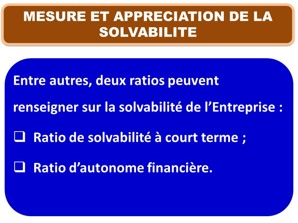 MESURE ET APPRECIATION DE LA SOLVABILITE Entre autres, deux ratios peuvent renseigner sur la solvabilité de lEntreprise : Ratio de solvabilité à court