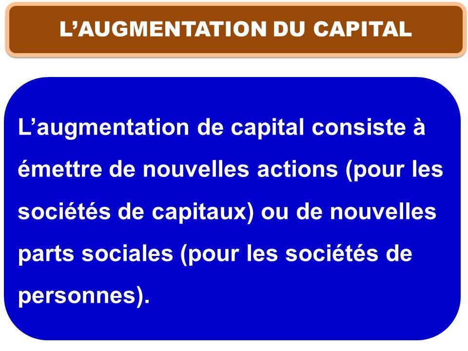 LAUGMENTATION DU CAPITAL Laugmentation de capital consiste à émettre de nouvelles actions (pour les sociétés de capitaux) ou de nouvelles parts social