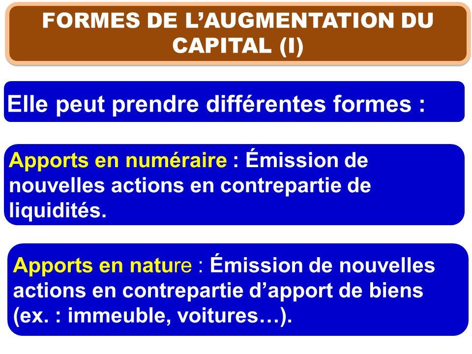 FORMES DE LAUGMENTATION DU CAPITAL (I) Elle peut prendre différentes formes : Apports en numéraire : Émission de nouvelles actions en contrepartie de