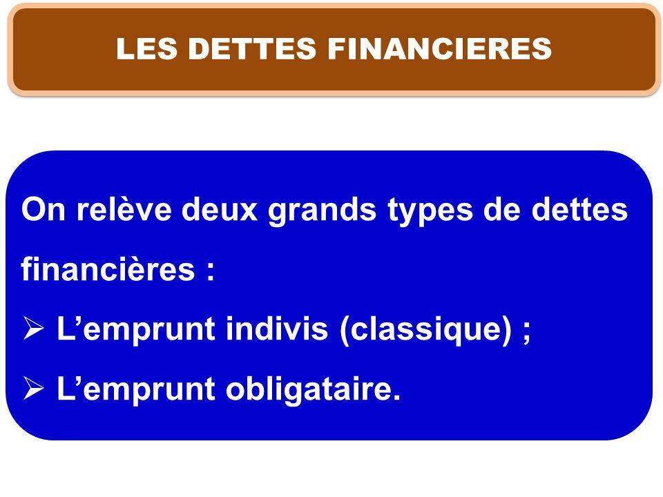 LES DETTES FINANCIERES On relève deux grands types de dettes financières : Lemprunt indivis (classique) ; Lemprunt obligataire.