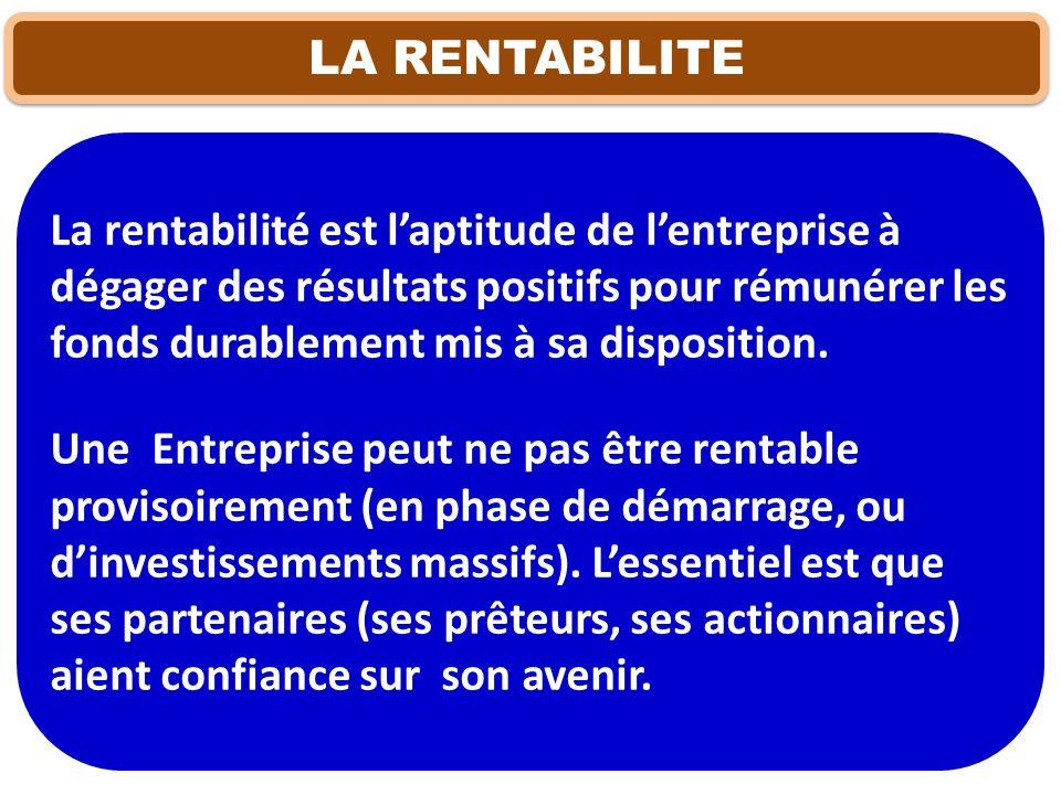 MESURE ET APPRECIATIO DE LA RENTABILITE Trois ratios peuvent renseigner sur la rentabilité de lEntreprise : Ratio de rentabilité financière ; Ratio de rentabilité économique ; Ratio de rentabilité commerciale.