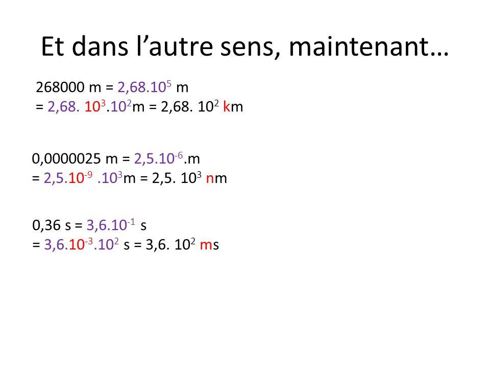 Et dans lautre sens, maintenant… 268000 m en km 0,0000025 m en nm 0,36 s en ms 268000 m = 2,68.10 5 m = 2,68. 10 3.10 2 m = 2,68. 10 2 km 0,0000025 m