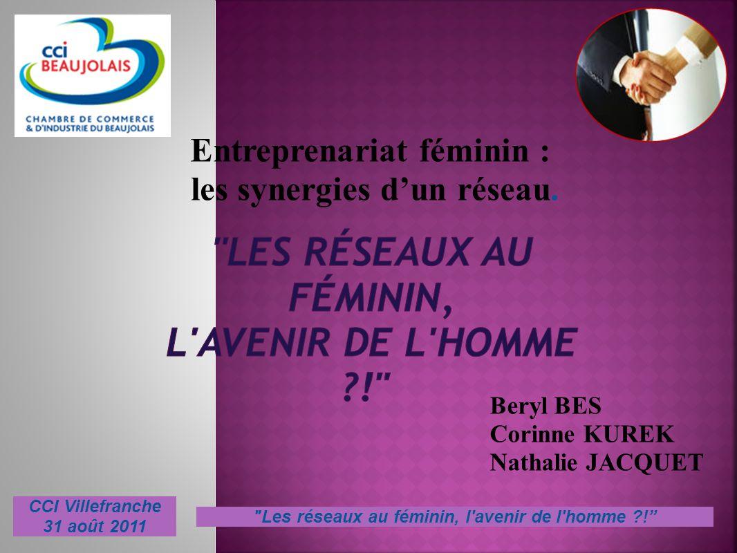 Entreprenariat féminin : les synergies dun réseau. Beryl BES Corinne KUREK Nathalie JACQUET CCI Villefranche 31 août 2011