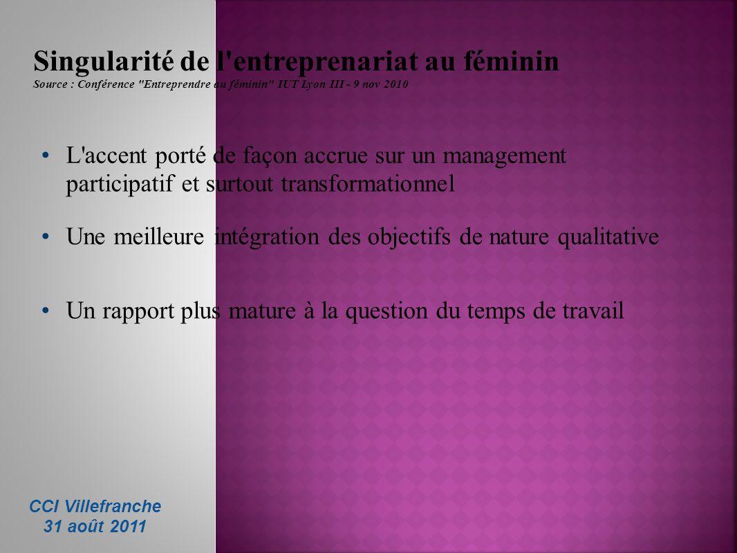 Singularité de l'entreprenariat au féminin Source : Conférence