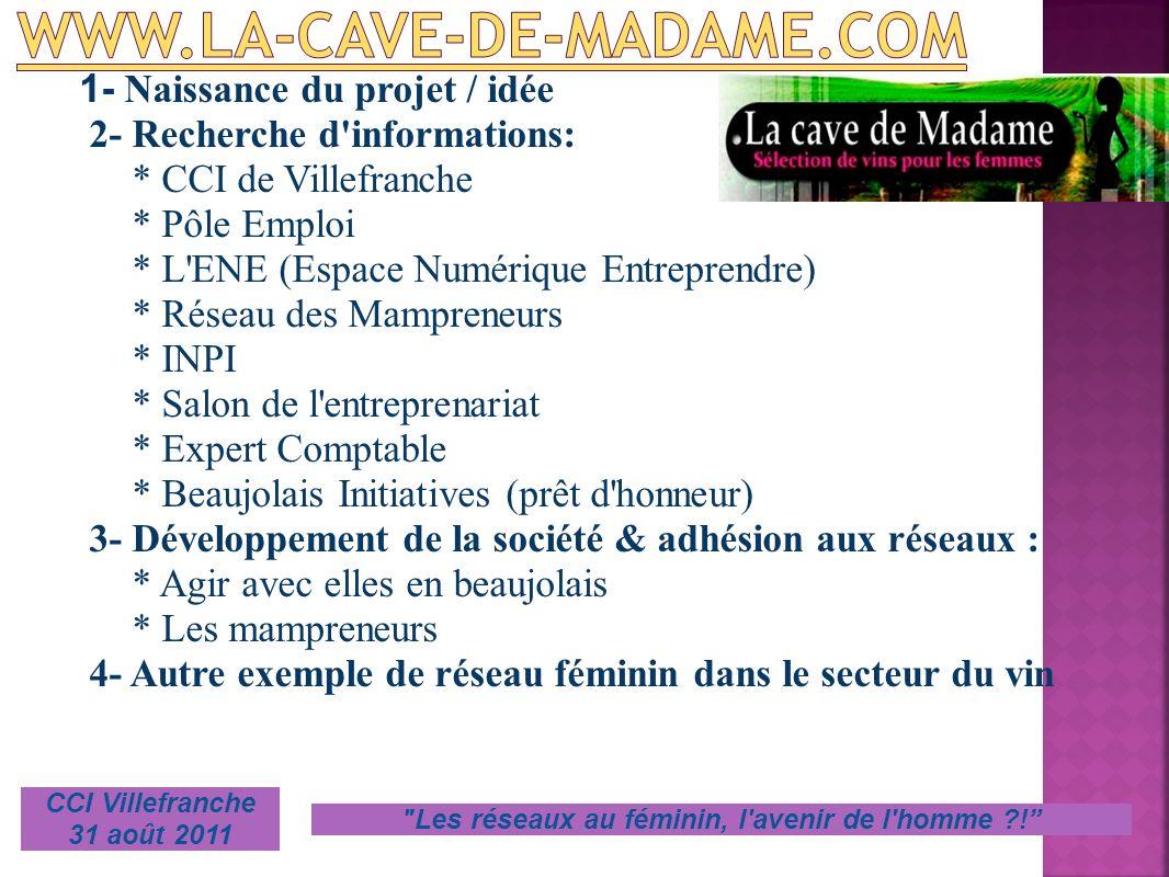 1- Naissance du projet / idée 2- Recherche d'informations: * CCI de Villefranche * Pôle Emploi * L'ENE (Espace Numérique Entreprendre) * Réseau des Ma