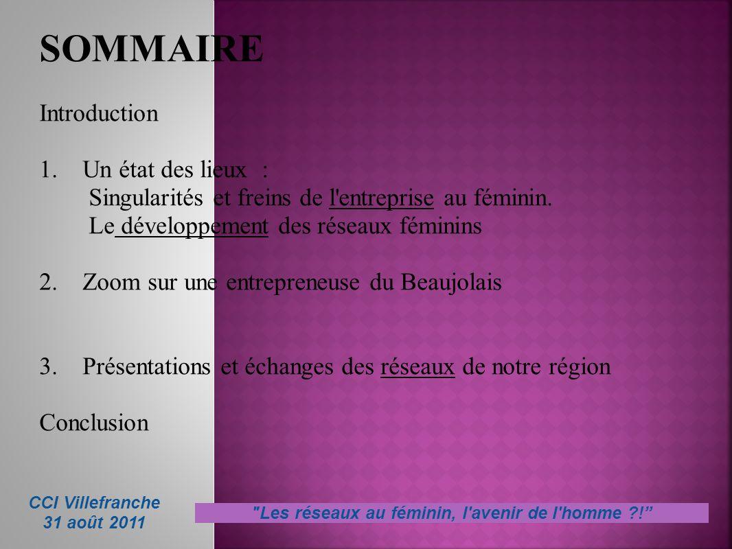 SOMMAIRE Introduction 1. Un état des lieux : Singularités et freins de l'entreprise au féminin. Le développement des réseaux féminins 2. Zoom sur une