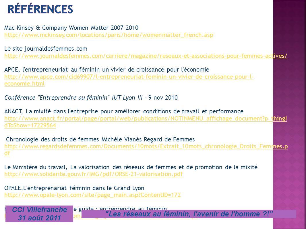 Mac Kinsey & Company Women Matter 2007-2010 http://www.mckinsey.com/locations/paris/home/womenmatter_french.asp Le site journaldesfemmes.com http://ww