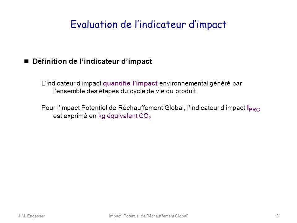 Evaluation de lindicateur dimpact Définition de lindicateur dimpact Lindicateur dimpact quantifie limpact environnemental généré par lensemble des éta