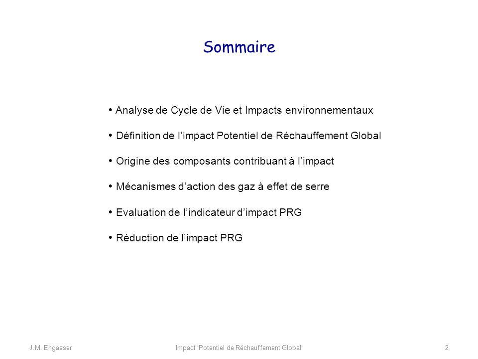 Analyse de Cycle de Vie et Impacts environnementaux Définition de limpact Potentiel de Réchauffement Global Origine des composants contribuant à limpa