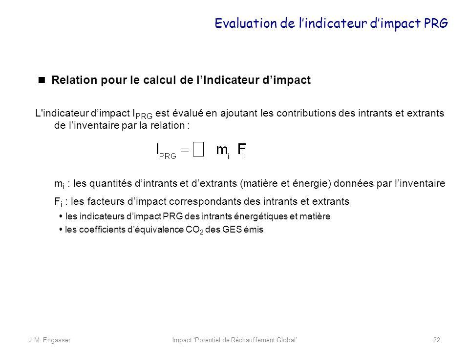 Relation pour le calcul de lIndicateur dimpact L'indicateur dimpact I PRG est évalué en ajoutant les contributions des intrants et extrants de linvent