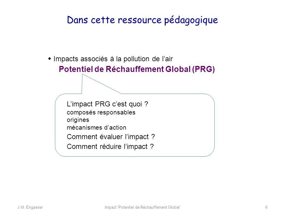 Impacts associés à la pollution de lair Potentiel de Réchauffement Global (PRG) Dans cette ressource pédagogique Limpact PRG cest quoi ? composés resp