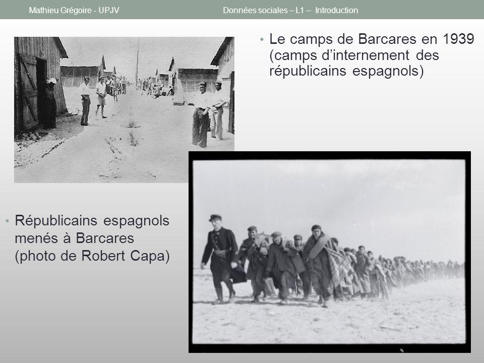 Mathieu Grégoire - UPJVDonnées sociales – L1 – Introduction Le camps de Barcares en 1939 (camps dinternement des républicains espagnols) Républicains espagnols menés à Barcares (photo de Robert Capa)